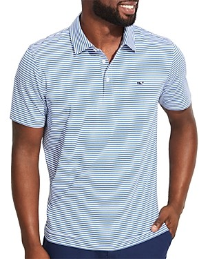 Vineyard Vines Winstead Sankaty Heathered Stripe Classic Fit Performance Polo Shirt