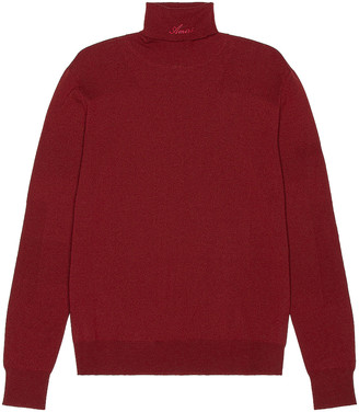 Amiri Fitted Wool Turtleneck in Burgundy | FWRD