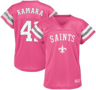 Outerstuff Girls Youth Alvin Kamara Pink New Orleans Saints Fashion Fan Gear V-Neck T-Shirt