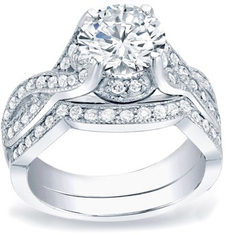 Auriya Platinum 1 1/2ctw Vintage Round Diamond Engagement Ring Set