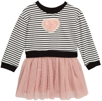 Popatu Stripe Bodice Tulle Skirted Dress (Baby Girls 12-24M)
