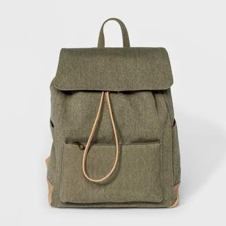 Universal Thread Large Flap Olive Canvas Backpack Olive