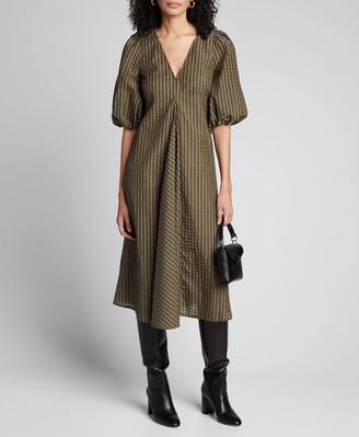 Ganni Seersucker Check Puff-Sleeve Midi Dress