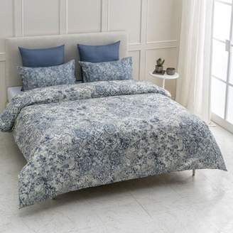 """A1 Home Collections A1HC Fiesta Reversible Print 100% Organic Cotton Wrinkle Resistant Duvet Cover and Sham Set of 2 with Internal Ties and Button Closure, 88"""" x 92"""", Queen, Blue"""