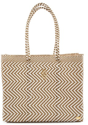 Lolas Bag Gold Chevron Travel Tote Bag With Clutch