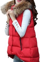 OMEYA.WANSHIDA.Women Winter Faux Fur Hooded Down Vest Jacket Coat