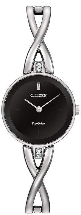Citizen Eco-Drive Silhouette Womens Crystal-Accent Stainless Steel Bangle Watch EX1420-50E