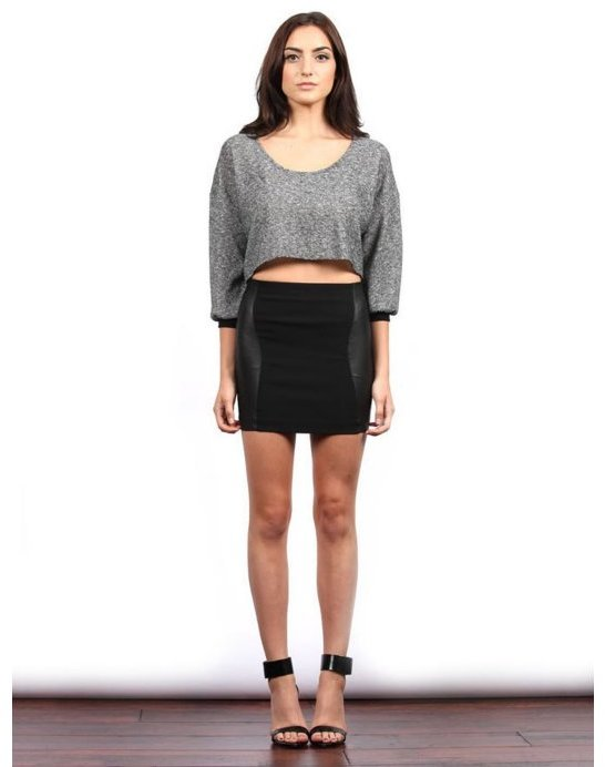 Samantha Eng The Perforated Leather Combo Mini Skirt