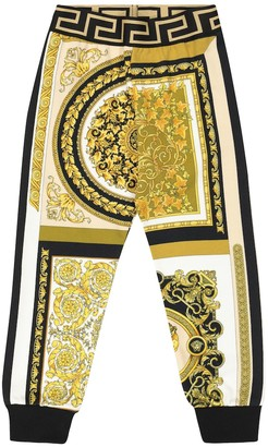 Versace Kids Printed cotton-jersey trackpants