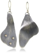 "Melissa Joy Manning Mixed Metals"" Gold and Diamond Detail Silver Earrings"