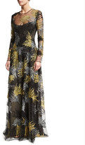 Naeem Khan Long-Sleeve Lace Applique Gown, Black/Gold/Silver