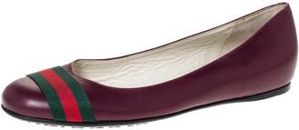 Gucci Burgundy Leather Web Detail Ballet Flats Size 38