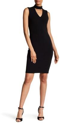 Calvin Klein Choker V-Neck Cutout Dress