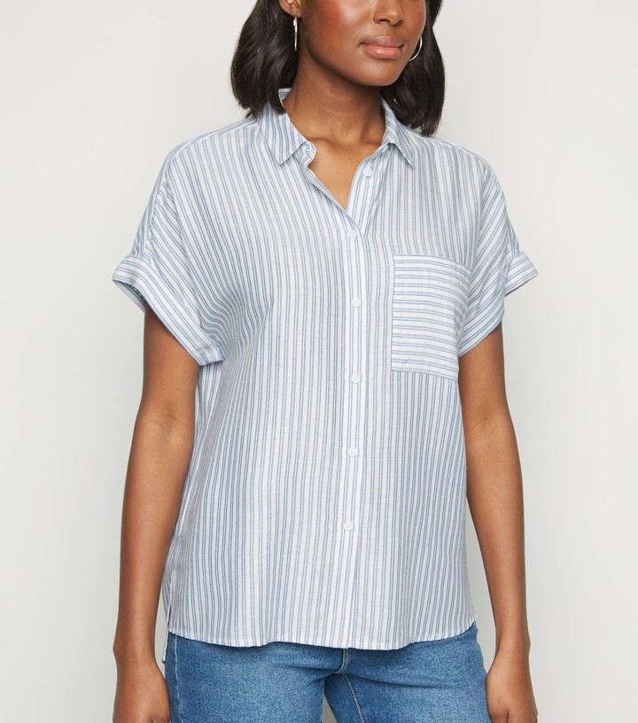 Thumbnail for your product : New Look Stripe Pocket Front Short Sleeve Shirt