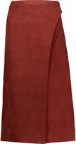 ADAM by Adam Lippes Suede midi wrap skirt
