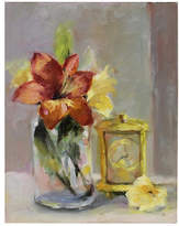 One Kings Lane Vintage Lilies with Clock Still LIfe