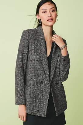 Next Womens Black Herringbone Double Breasted Jacket - Grey