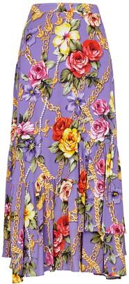 Boutique Moschino Floral-print purple midi skirt