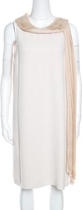 Fendi Beige Silk Pleated Faux Scarf Neck Detail Sleeveless Dress S