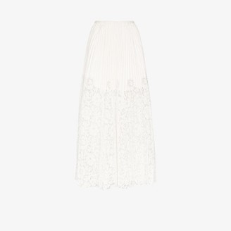 Valentino Womens White Lace Pleated Leather Maxi Skirt