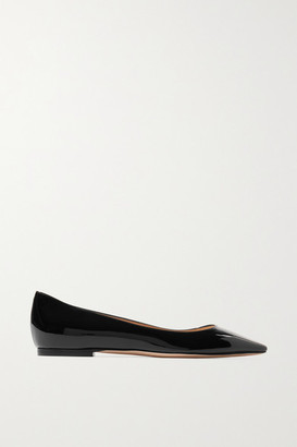 Jimmy Choo Romy Patent-leather Point-toe Flats - Black