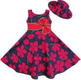 Sunny Fashion ET34 2 Pecs Girls Dress Sunhat Bow Tie Flower Summer Beach