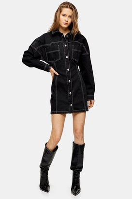 Topshop Black Denim Shirt Dress With Contrast Stitch