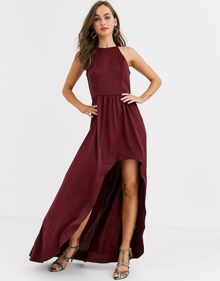 Chi Chi London high low satin skater dress in wine-Red