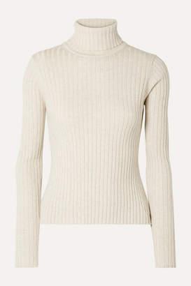 Off-White Anna Quan ANNA QUAN - Heather Ribbed Cotton Turtleneck Top