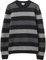 Jigsaw Boiled Merino Stripe Jumper, Grey