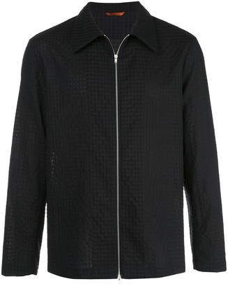 Barena Check Patterned Zipped Shirt Jacket