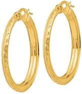 Italian Gold Satin & Diamond-Cut Hoop Earrings, 14K Gold