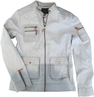 Ash White Leather Jacket for Women