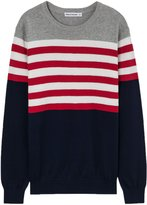 Meters/bonwe Men's Round Neck Color Block Striped Pullover Knitted Sweater, XL