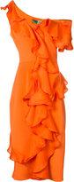 Christian Siriano fitted ruffle trim dress - women - Silk - 6