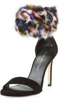 Stuart Weitzman Snowbiz Mink Fur-Cuff Suede Sandal