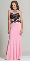 Dave and Johnny Beaded Lace Collar Prom Dress