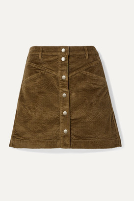 Madewell Cotton-blend Corduroy Mini Skirt - Dark green