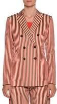 Giorgio Armani Stripe Double-Breasted Cotton-Silk Jacket