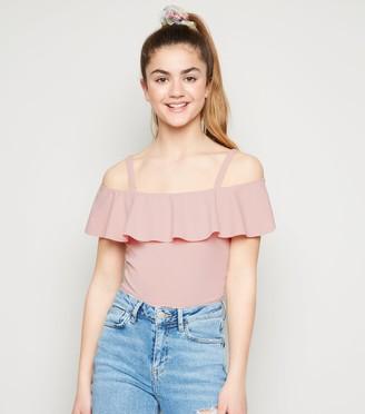 New Look Girls Scuba Crepe Ruffle Top