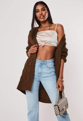 Missguided Chocolate Cable Knitted Long Cardigan