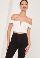 Missguided V Bar Bardot Crop Top White