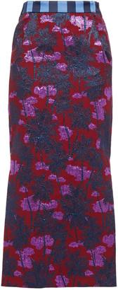 Stella Jean Metallic Cotton-blend Floral-jacquard Midi Skirt