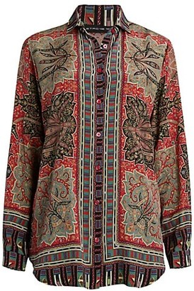 Etro Oversized Print Silk Shirt