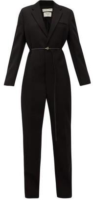 Bottega Veneta Notch-lapel Wool Tuxedo Jumpsuit - Womens - Black