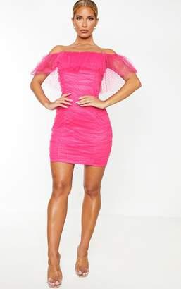 PrettyLittleThing Hot Pink Dobby Mesh Ruffle Bardot Bodycon Dress