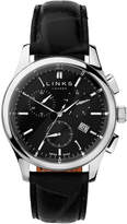 Links Of London Regent Mens Black Dial Stainless Steel & Black Leather Chronograph Watch