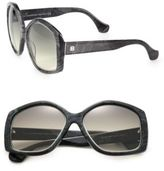 Balenciaga 55MM Square Marbleized Acetate & Metal Sunglasses