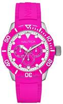 Nautica NSR 101 Women's Quartz Watch with Pink Dial Chronograph Display and Pink Resin Strap A13641G