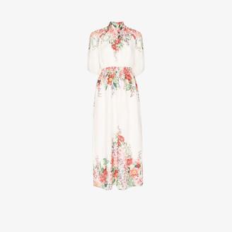 Zimmermann Floral Print Shirred Maxi Dress